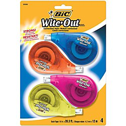 BIC Wite-Out Brand EZ Correct Correction Tape, White, 4-Count