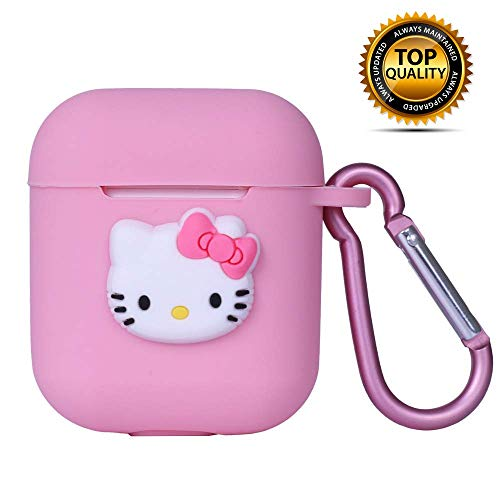 Airpods Case Cover Cute Pink Kitty Design with Keychain | Protective Silicone Anti-Lost Dust-Proof & Shock Resistant by MODISH TECH