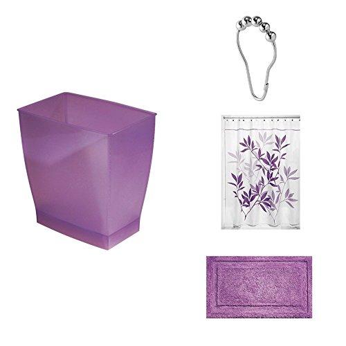 InterDesign 4-Piece Bathroom Shower Set: Mono Rectangular Waste Can, Purple Leaves Polyester Shower Curtain, Spa Rug, Steel Roller Rings/Hooks - Chianti/Purple/Chrome