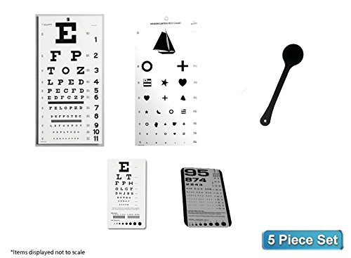 EMI 5 Piece Optometry Set - Snellen Wall Eye Chart, Kindergarten Wall Eye Chart, Snellen Pocket Eye Chart, Rosenbaum Pocket Eye Chart, Occluder