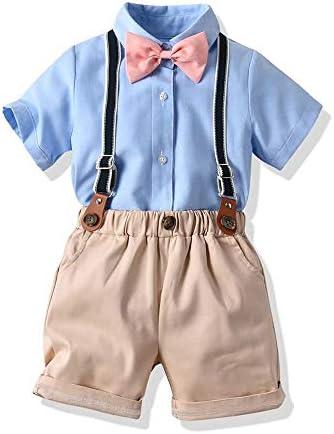 ボーイツーピースセット、蝶ネクタイソリッドカラー半袖シャツ+サスペンダーショートパンツ、1-6年#204