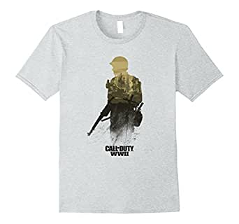 Mens Call of Duty WWII - Forest Front Line T-Shirt 2XL Heather Grey