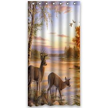 deer water proof polyester 36 x 72 shower curtain home kitchen. Black Bedroom Furniture Sets. Home Design Ideas