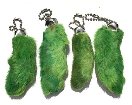 Dangerous Threads Rabbit Rabbits Foot Keychain Green 4 Pcs]()