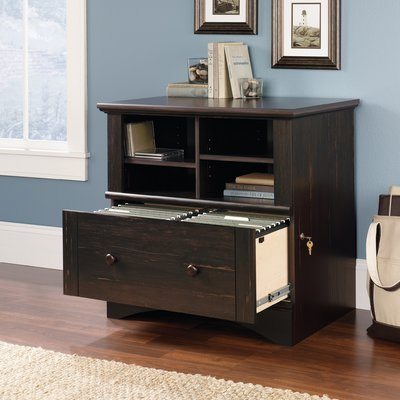 1 Drawer File Cabinet with Open Shelves for Extra Storage or Display Make your Office even More Organized in Brown Lock Privacy by AVA Furniture