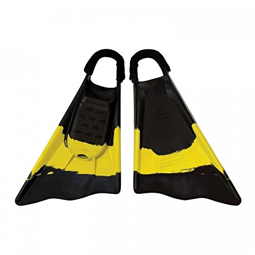 Ally Clark Little 11-12 Swim Fins & Tethers, Large, Black/Yellow/Black