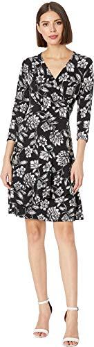 Karen Kane Women's Faux Wrap Drape Dress Print Small