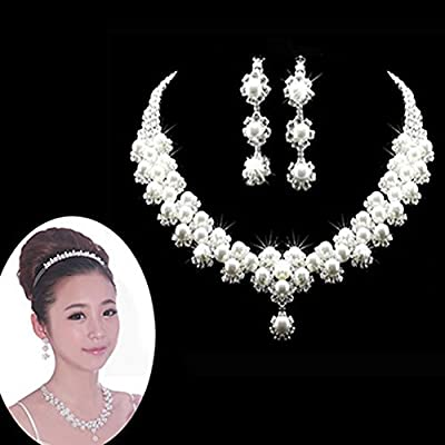 YSTD® Fashion Women Faux Pearl Necklace Earring Set Wedding Bride Bridesmaid Jewelry
