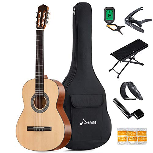 Donner 39 Inch Classical Guitar DCG-1 Full Size Beginner Acoustic Classical Guitar Package Spruce Mahogany Body With Bag Capo Tuner String Picks ()
