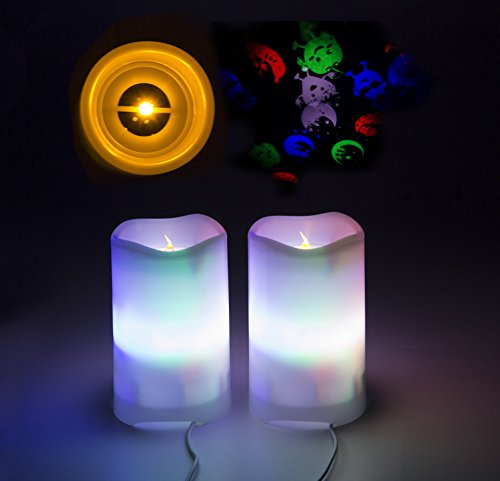 Shineart LED Candle Projection Lights - Flameless Electric Candles with Remote Timer 2 in 1 USB-Powered Indoor/Outdoor Rotate Stars Fruits Lamp for Home Decoration Party Gift (Pack of 2) -