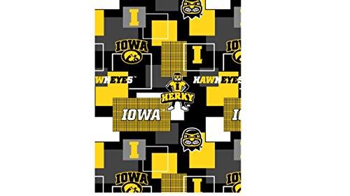 UNIVERSITY OF IOWA FLEECE FABRIC-IOWA HAWKEYES FLEECE BLANKET FABRIC (Fleece Iowa Blanket)