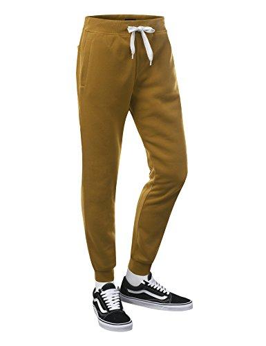 URBANCREWS Mens Hipster Hip Hop Basic Fleece Jogger Sweatpants Wheat XLarge