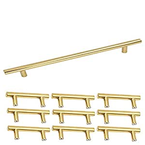 Homdiy Modern Brushed Brass Gold Cabinets Door Handles 224 mm Hole Centers Wardrobe Cabinet Pulls and Drawer Knobs 10 Pack