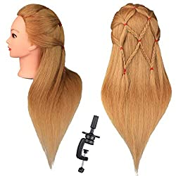 Dansee Mannequin Head 100% Real Hair 27 Inch Hairdresser Training Head Cosmetology Manikin Head Doll Head With Free Clamp(Blonde)