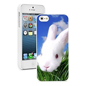 """Apple iPhone 6 (4.7"""") Hard Back Case Cover Cute White Bunny Peaking through Grass (White) by icecream design"""