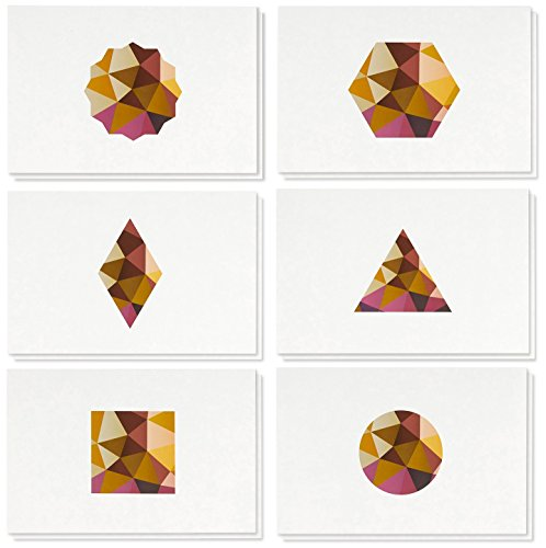 48 Pack All Occasion Assorted Blank Note Cards Greeting Card Bulk Box Set, Blank on The Inside, 6 Colorful Polygon Geometric Designs Earth Hues Notecards Envelopes Included, 4 x 6 Inches ()