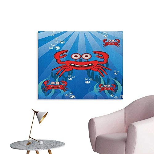 Anzhutwelve Crabs Wallpaper A Group of Funny Crab Underwater with Smiling Happy Faces Bubbles Coral and Sun Rays Funny Poster Blue Red W28 xL20 ()