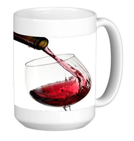 Red Wine Glass and Bottle 15 ounce Ceramic Coffee Mug Tea ()
