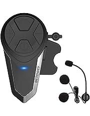 1x BT-S3 Bluetooth-Koptelefoons Motorfiets, BETOWEY 1000m Motorhelm Intercom Helm Headset met Ingebouwde FM-radio
