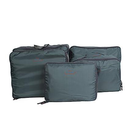 eDealMax almacenaje de la ropa de equipaje Organizador Embalaje Cubo Bolsa Bolsa 5 en 1 gris