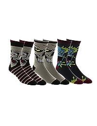 Men's Zombie Splatter Faces 3-Pack Dress Socks