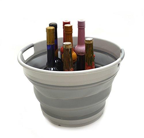 SAMMART Collapsible Round Tub - Foldable Storage Container/Organizer - Portable Washing Bin - Space Saving Laundry Hamper/Basket - Collapsible Washing-up Bucket (Grey)