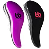 Detangler Hair Brushes Set of Two - Women Men Kids Hairbrush Teezer Comb No Pain Detangling Hair Brush For Curly Straight Wavy Wet & Dry Thick or Thin Tangle Two Piece Sets (Purple & Black)