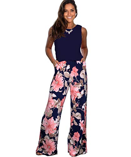 ALAIX Women's Casual Sleeveless Jumpsuit Flower Printed Overall Long Pants Romper Playsuits with Pockets Darkblue-S