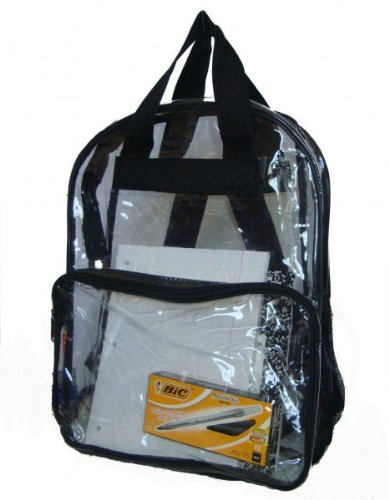 "17"" Clear PVC Backpack - Black - Case Pack 40 SKU-PAS745831 from DDI"
