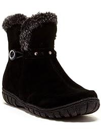 Bucco Dottie Women's Suede Boot With Faux Fur Trim, Black, Size 7.5, US