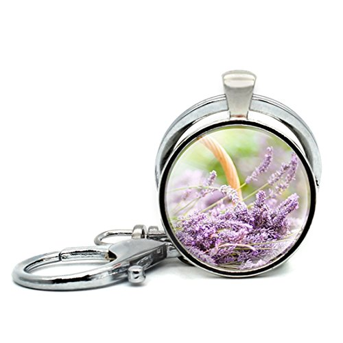 Round Cabochon Lavender - Keychain Round Pendant Lavender Flower Dog's Tail Glass Cabochon Key Rings Stainless Steel Metal Handmade Charm Pendants