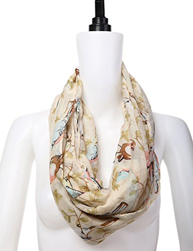 Dimore Women Lightweight Print Voile Fashion Shawl Scarves-Chiffon Scarf Wrap White Bird