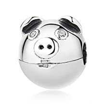 PAHALA 925 Strling Silver Cute Pig Charms Pendant Fit Bracelets Necklace