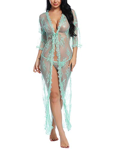 Ababoon See Through Lingerie Womens Nightgown Sheer Robe for Night Green