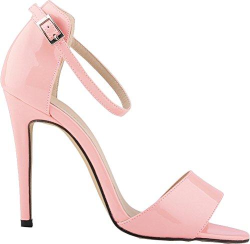 Heeled Open Sandals Straps Toe Bridesmaid Ankle Nightclub PU Party Wedding 2QP Job OL Simple Pink 102 Salabobo Ladies Bride OSqASPw
