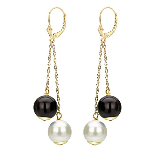 14K Gold Leverback Chain Drop Earrings with Freshwater Cultured 8-8.5mm White Pearl and Simulated Black Onyx Birthstone Gifts