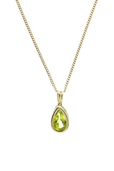 9ct White Gold Peridot Necklace Pendant no chain Made in UK Gift Boxed