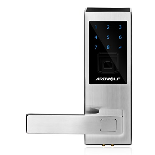 Ardwolf A20S Fingerprint Door Lock Security Keyless Biometric Touchscreen Lever with Auto Lock, Left-Handed