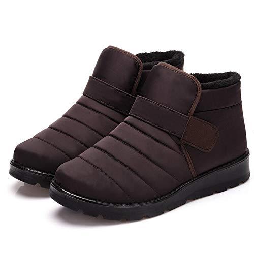 Men Boots Waterproof Ankle Snow Boots Shoes Warm Fur Plush Hook & Loop Winter Shoes,Brown,11