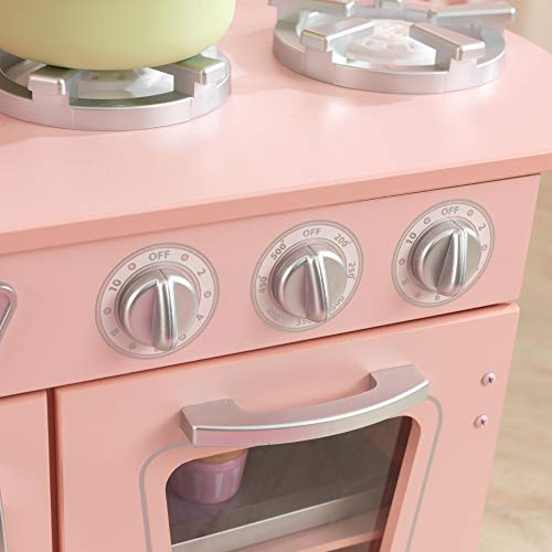 KidKraft Vintage Wooden Play Kitchen with Pretend Ice Maker and Play Phone, Pink, Gift for Ages 3+