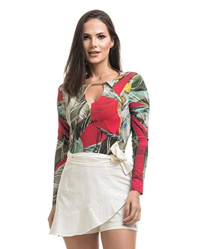Short Saia Clara Arruda Linho Babado Lateral 30054 - P - Off White