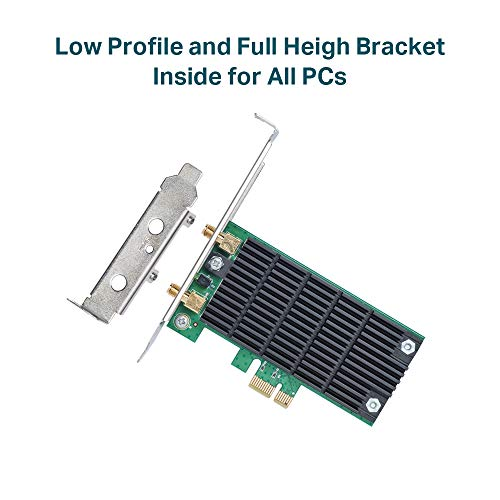 TP-Link AC1300 PCIe Wireless Wifi PCIe Card | 2.4G/5G Dual Band Wireless PCI Express Adapter | Low Profile, Long Range, Heat Sink Technology | Supports Windows 10/8.1/8/7/XP (Archer T6E)