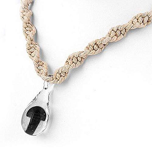 JewelryVolt FN-5488 Twisted Hemp Necklace w/Black Mushroom in Tear-drop Glass Pendant