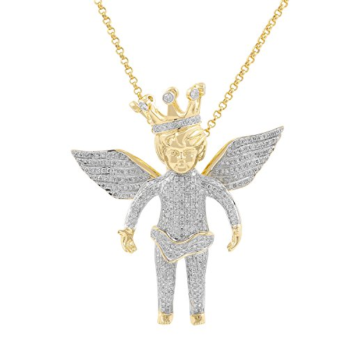 2.15ct Diamond Baby Flying Angel with Crown Charm Mens Hip Hop Pendant in Yellow Gold Over 925 Silver (I-J, I1-I2) by Isha Luxe-Hip Hop Bling