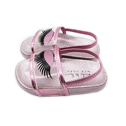 nicole Miller New York Toddler and Little Girls Designer Slide Sandals Light Pink, 6 Toddler