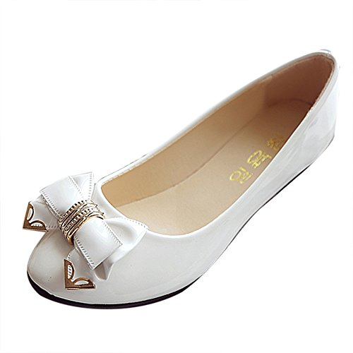 morecome Spring Toe Flat Heel Bow Tie Shoes Women's Flat Shoes (5.5, White)