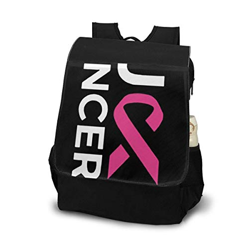 (ELKFOREST Fuck Cancer Pink Ribbon Outdoor Shoulder Backpack Tavel Bag Daypack School Laptop Bag for Women Men)