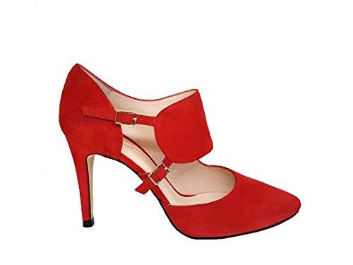 Talon pour RESPIRO Rouge Femme Aiguille Escarpins Suède au GENNIA Cuir waqT1F