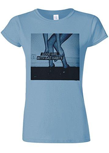 おもちゃ冗談で入浴Good Girl With Bad Habits Novelty Light Blue Women T Shirt Top-M