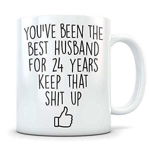 24th Anniversary Gift for Men - Funny 24 Year Wedding Anniversary for Him - Best Marriage Coffee Mug I Love You Husband for Couples Celebrating Their Relationship (Being In Love With A Married Man Poems)